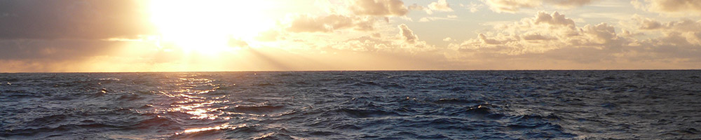 Horizon of open sea at sunset